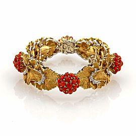 Spritzer & Fuhrmann 18k Yellow Gold Diamonds & Coral Floral Leaf Link Bracelet