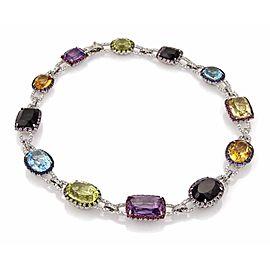 Estate 124.79tcw Diamond & Multicolor Gemstone Hefty 18k White Gold Necklace