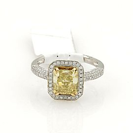 Radiant Cut 1.75ct Fancy Intense Yellow Diamond 18k Solitaire Ring