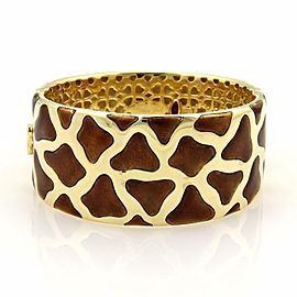 Roberto Coin Cheetah Print Enamel 18k Yellow Gold Wide Band Bracelet