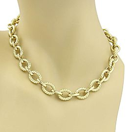 "David Yurman 18k Yellow Gold Oval Cable Chain Link Necklace 18"" Long"