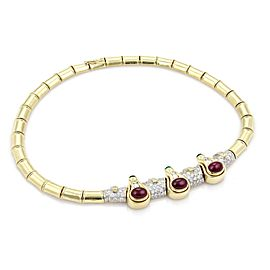 Estate 17.50ct Diamond Ruby & Emerald 18k Yellow Gold Fancy Collar Necklace