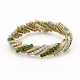 Hammerman Brothers 13ct Diamond & Emerald 18k Gold Long Fancy Long Bracelet