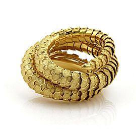 Vintage Diamond & Sapphire 18k Gold Textured Snake Flex Wrap Bracelet 201g