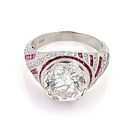 Vintage 4.37ct Diamond & Ruby Solitaire w/Accent Platinum Ring Size 6.5