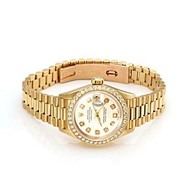 Rolex Oyster Date Just Mother of Pearl Diamond Bezel 18k Gold Ladies Watch