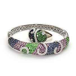 Modern Diamond Saphire Tsavorite 18k White Gold Fancy Bracelet & Ring Set