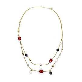 Roberto Coin Diamond Coral & Onyx 18k Two Tone Gold Double Strand Necklace