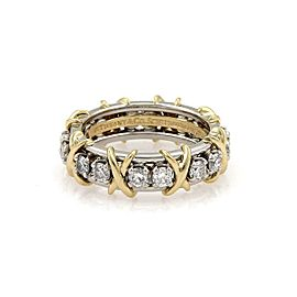 Tiffany & Co. Schlumberger 16 Diamond Platinum 18k Gold X Ring