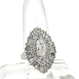 Estate 4.06ct Diamond Platinum Gold Marquise Shape Cocktail Ring Size 8