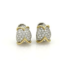 Tiffany & Co. 1.50ct Diamond Platinum 18k Yellow Gold Fancy Curved Earrings