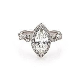 Diamond Solitaire 1.33ct Marquise Cut 18k Gold Engagement Ring G-SI1