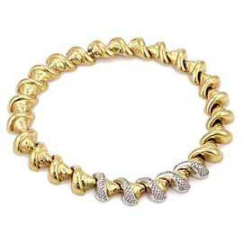Estate Diamond 18k Two Tone Gold Fancy Swirl Cone Link Collar Necklace