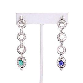 7.25ct Diamond Emerald Sapphire 18k White Gold Drop Dangle Earrings