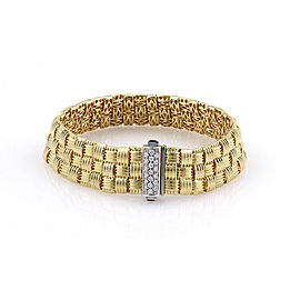 Roberto Coin 18K Yellow Gold Appassionata Woven Bracelet with Diamonds