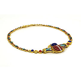 Vintage Diamond & Multicolor Gemstones 18k Gold Egyptian Scarab Design Necklace