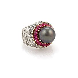 Arezzo 4.22ct Diamond & Ruby Tahitian Pearl 18k White Gold Cocktail Ring