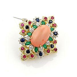 Estate 12.20ct Diamonds Coral & Multi-Color Gemstone 18k Gold Floral Pendant Pin