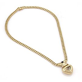 Chopard Happy Diamond Sapphire 18k Yellow Gold Heart Curb Link Necklace