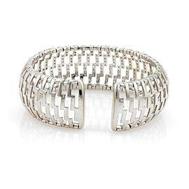 18k White Gold 3ct Diamonds 24mm Wide Open Dome Cuff Band Bracelet
