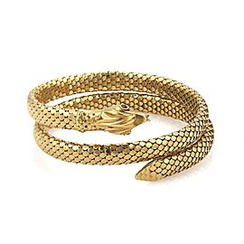 Vintage Ruby 18k Yellow Gold Scaled Design Snake Wrap Bangle Bracelet