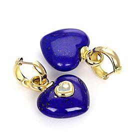 Chopard Happy Diamond Lapis Turquoise 18k Yellow Gold Heart Dangle Earrings