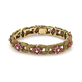Vintage 8.45ct Diamond & Ruby Beaded Fancy Link 18k Yellow Gold Bracelet
