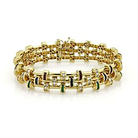 Estate 4.60ct Diamond Emerald Ruby & Sapphire 18k Yellow Gold Fancy Bracelet