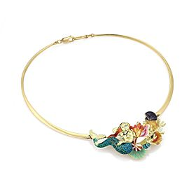 18k Yellow Gold Multicolor Enamel Mermaid & Sea Shell Fancy Necklace