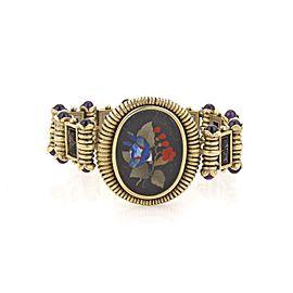 Victorian Amethyst Black Jets 18k Gold Oval Inlaid Gems Fancy Link Bracelet