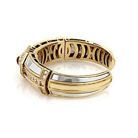 Estate 3ct Diamond & Pink Tourmaline 18k Gold & Silver Fancy Cuff Bracelet