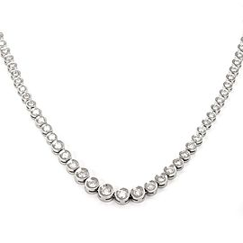 "Platinum 5 Carats Diamonds Graduated Tennis Eternity Necklace 15"" Long"