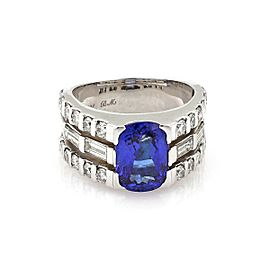 Estate 6 Carats Tanzanite & Diamond 14k WGold 3 Rows Band Ring Size 8.5