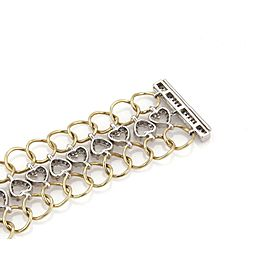 4 Carats Diamond 14k Two Tone Gold 3 Rows Hearts & Circle Link Bracelet