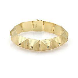 Designer Diamond 18k Yellow Gold Pyramid Step Links 12mm Wide Bracelet