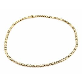"New 5.3ct Diamond 14k Yellow Gold Circle Link Bezel Tennis Necklace 16.5"" long"