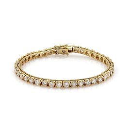 14k Yellow Gold 5.60 Carat Diamond Square Link Tennis Bracelet