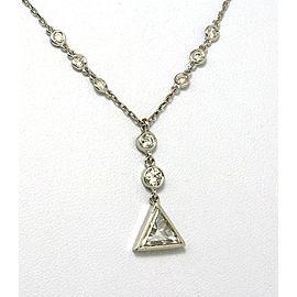 Elegant 1.13ct Diamonds & 14k White Gold Solitaire w/Accent Necklace