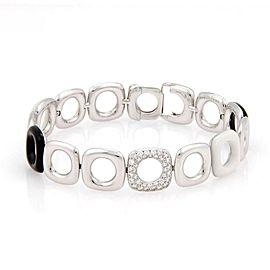 Tiffany & Co. Italy 18K White Gold Ceramic & Pave Diamond Link Bracelet