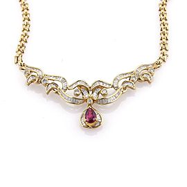 Estate 3.80ct Diamonds & Ruby 18k Yellow Gold Fancy Design Necklace