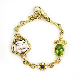 Contemporary Tesora 9.72ct Diamond & Gems Enamel Face Charm Bracelet