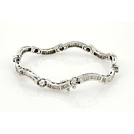 Estate 5ct Diamonds 14k White Gold Fancy Curve Link Bracelet