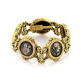 Vintage 18k Yellow Gold Embossed Antique Silver Coins Fancy Link Bracelet