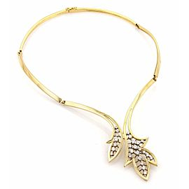 Estate 1ct Diamonds 18k Yellow Gold Leaf Design Fancy Collar Necklace