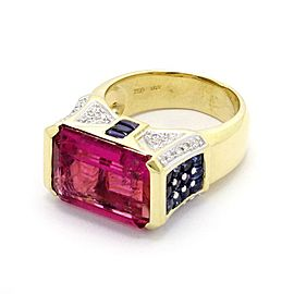 Estate 12.50ct Pink Tourmaline Sapphire & Diamond 18k Gold Ring Size - 7