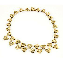 Estate Vintage 18k YGold & Diamonds Floral Design Drape Necklace