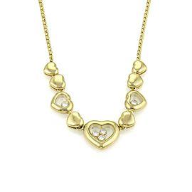 Chopard Happy Diamond 18k Yellow Gold Multi Hearts Charm Necklace