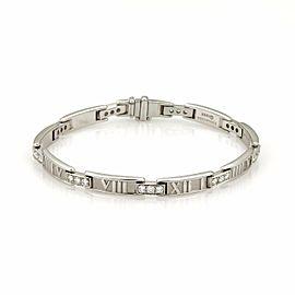 Tiffany & Co. ATLAS 1.00ct Diamond Numeral 18k White Gold Curved Bar Bracelet