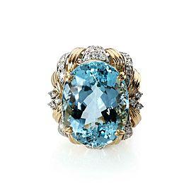 Estate 30.81ct Aquamarine & Diamond 18k Gold Platinum Large Cocktail Ring