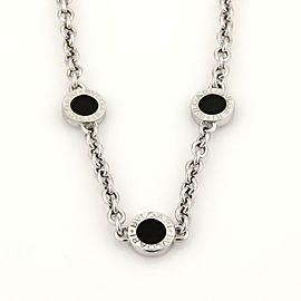 Bulgari Bulgari Onyx 18k White Gold 3 Circle Station Chain Necklace
